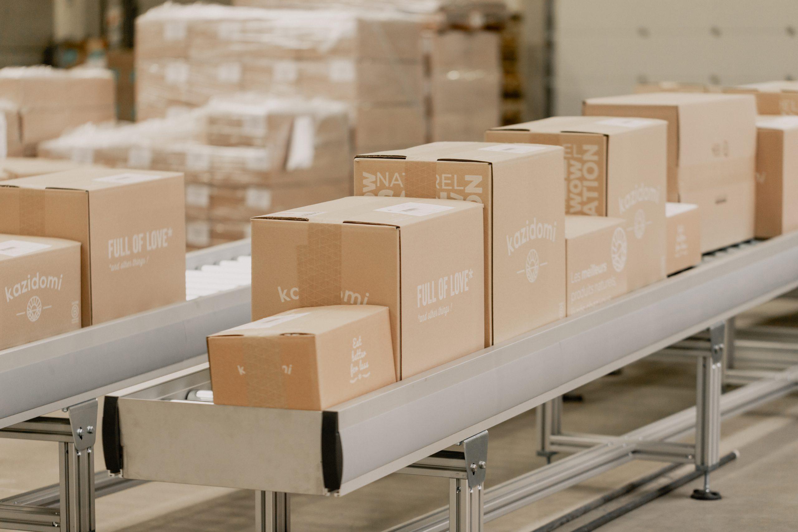Succession d'emballages en carton personnalisés Kazidomi